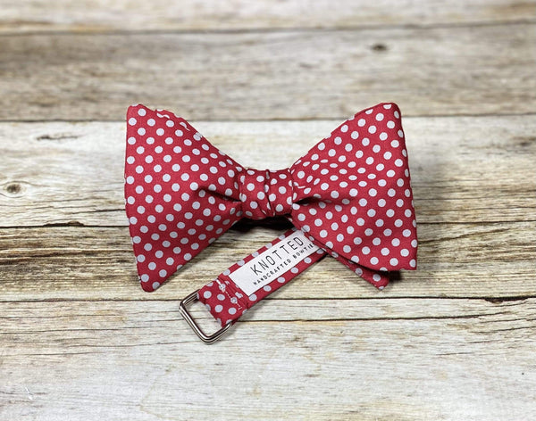 Crimson with Grey Dots - Knotted Handcrafted Bowties