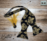 Black and Gold Fleur De Lis - Knotted Handcrafted Bowties