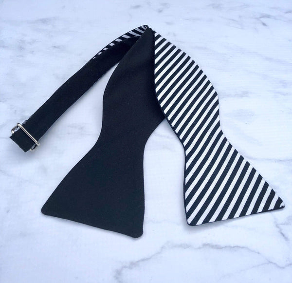 Black and White Reversible Stripes - Knotted Handcrafted Bowties