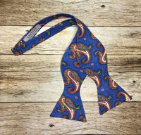 Blue MultiColored Paisley - Knotted Handcrafted Bowties