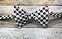 Cream and Chocolate Checkers - Knotted Handcrafted Bowties