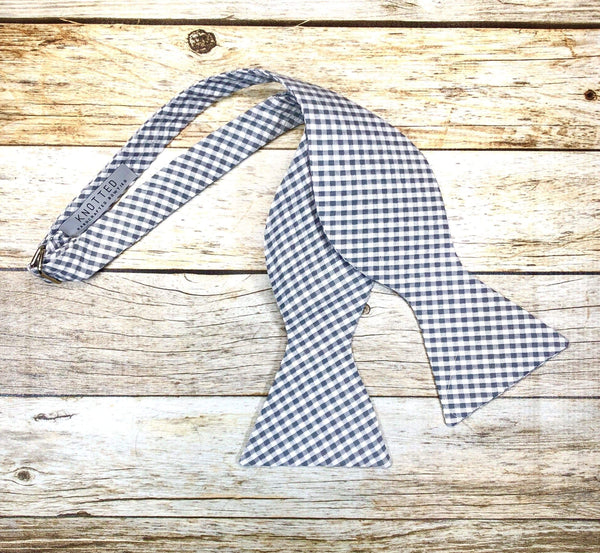 Grey Small Checkers - Knotted Handcrafted Bowties