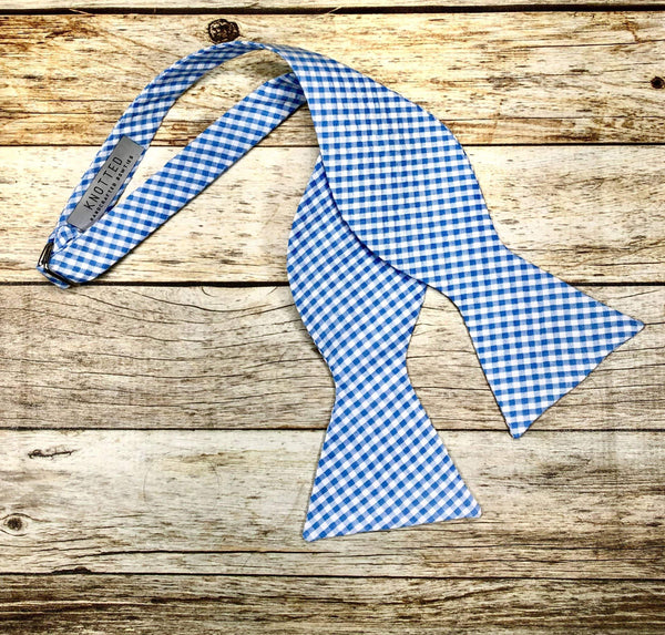 Light Blue Small Checkers - Knotted Handcrafted Bowties