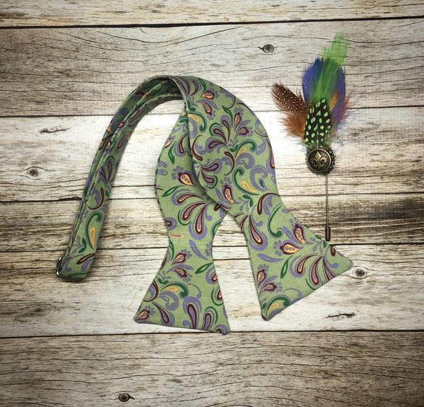 Mardi Gras Paisley 2 - Knotted Handcrafted Bowties