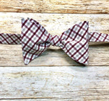Maroon and Grey Small Gingham - Knotted Handcrafted Bowties