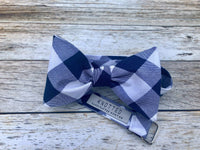 Navy and White Buffalo Check - Knotted Handcrafted Bowties