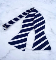 Navy and White Stripes - Knotted Handcrafted Bowties