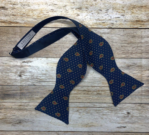 Navy Polka Paisley-Navy Reversible - Knotted Handcrafted Bowties