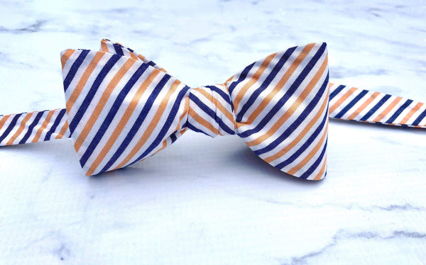 Orange, White, and Blue Stripes - Knotted Handcrafted Bowties