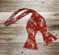 Pastel Red MultiColored Paisley - Knotted Handcrafted Bowties