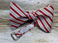 Crimson and Grey Stripes - Knotted Handcrafted Bowties