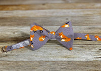 Fox with Herringbone Print - Knotted Handcrafted Bowties
