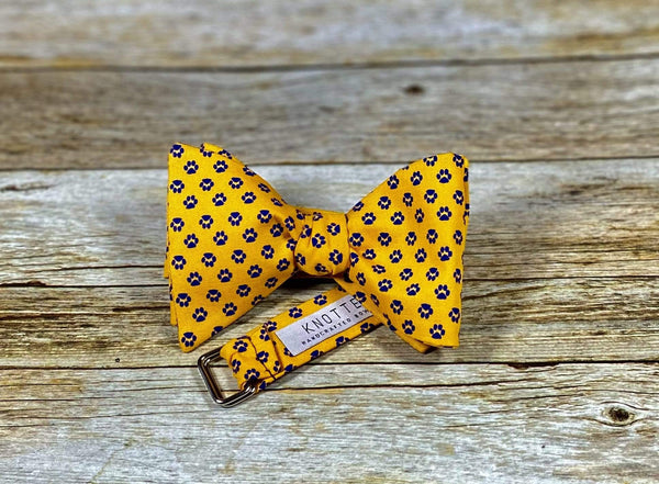 Gold with Purple Paws - Knotted Handcrafted Bowties