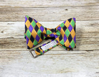 Mardi Gras Diamonds - Knotted Handcrafted Bowties