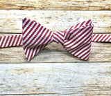 Red Seersucker - Knotted Handcrafted Bowties
