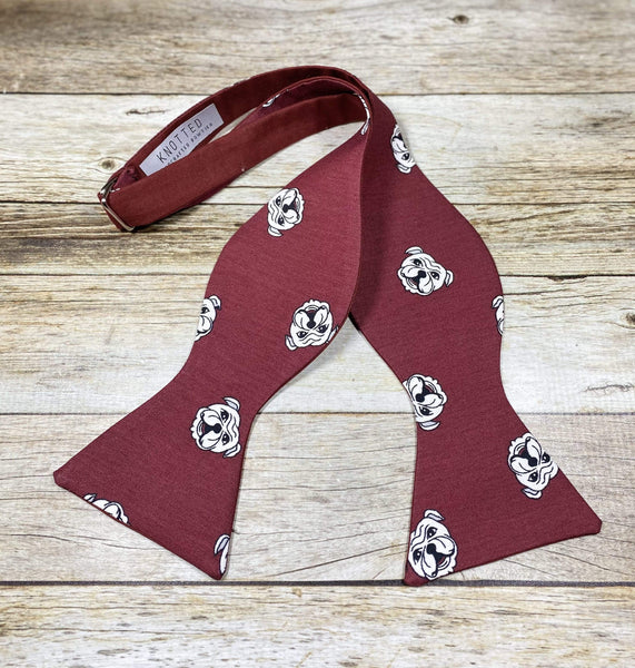 Bulldog Reversible Burgundy - Knotted Handcrafted Bowties