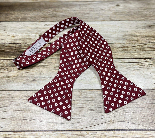 Burgundy Paw Prints - Knotted Handcrafted Bowties
