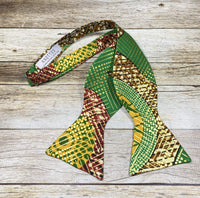 Metallic Green and Gold Kente - Knotted Handcrafted Bowties