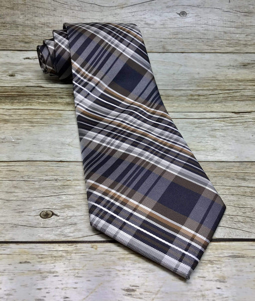 Brown, Silver and Navy Blue Tartan Plaid Woven Necktie - Knotted Handcrafted Bowties