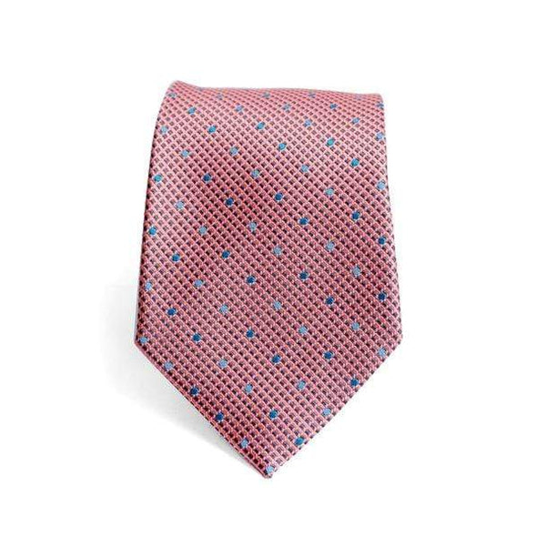 Coral Polka Dot Necktie - Knotted Handcrafted Bowties