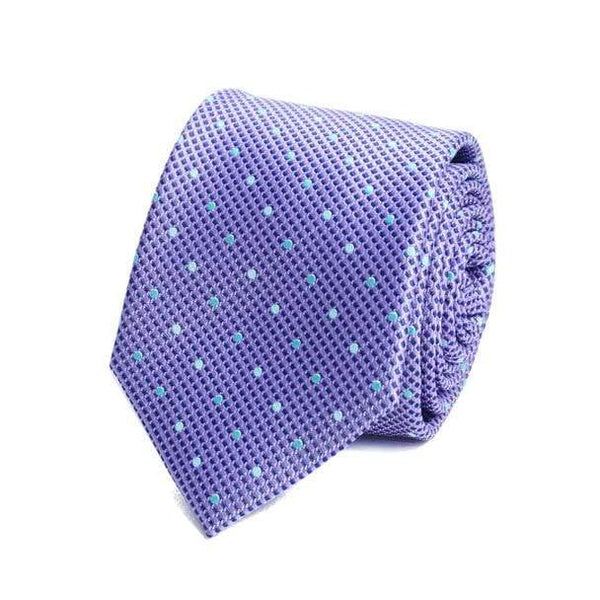 Lavender Polka Dot Necktie - Knotted Handcrafted Bowties