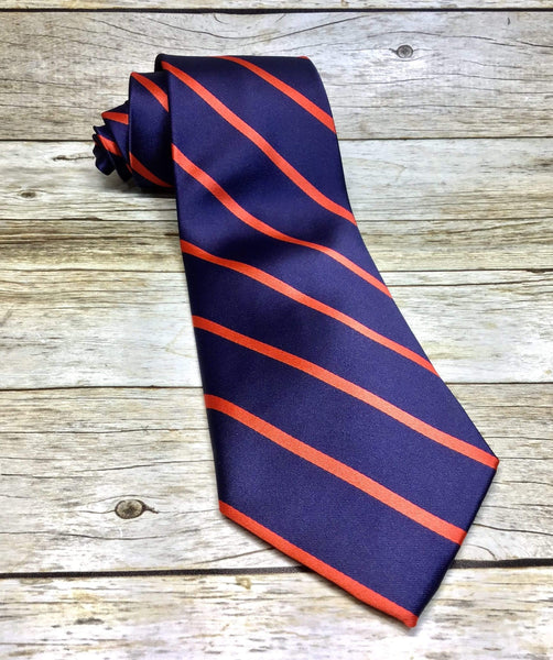 Narrow Red Stripes on Navy Woven Necktie - Knotted Handcrafted Bowties