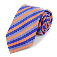 Blue and Orange Striped Necktie - Knotted Handcrafted Bowties