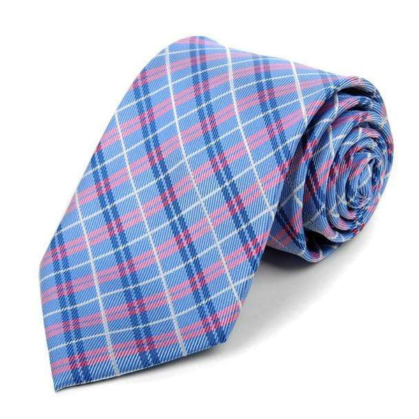 Blue Woven Plaid Necktie - Knotted Handcrafted Bowties