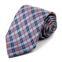 Navy Woven Plaid Necktie - Knotted Handcrafted Bowties