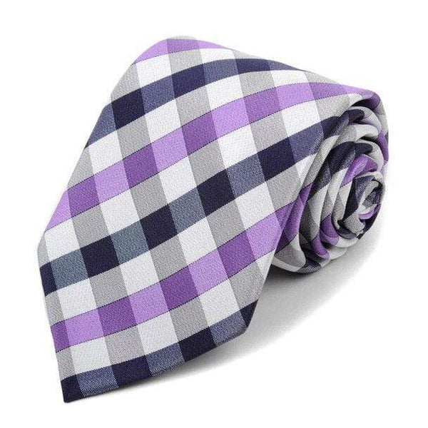 Purple Checkered Necktie - Knotted Handcrafted Bowties