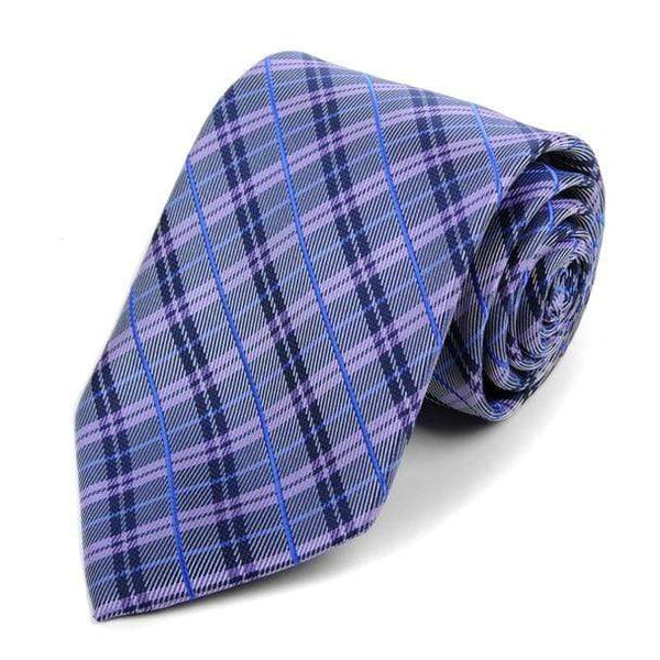Purple Woven Plaid Necktie - Knotted Handcrafted Bowties
