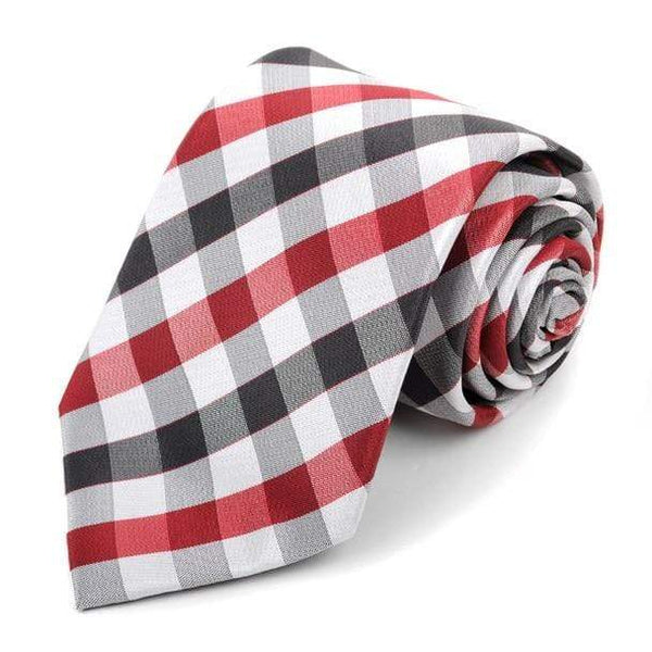 Red Checkered Necktie - Knotted Handcrafted Bowties