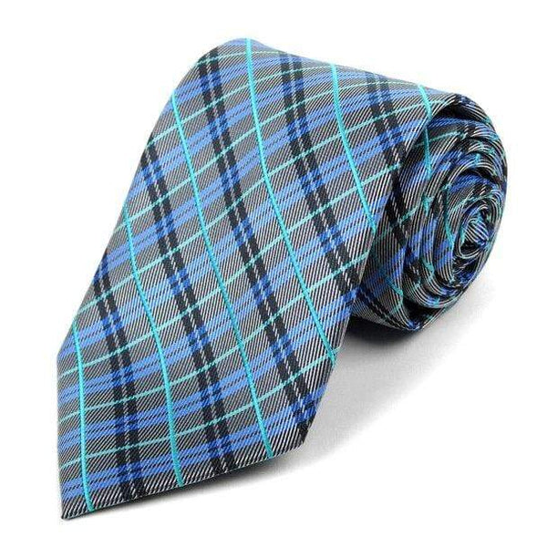 Royal Blue Plaid Necktie - Knotted Handcrafted Bowties