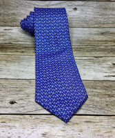 Pink/Cream Anchor Pattern On Steel Blue Necktie - Knotted Handcrafted Bowties