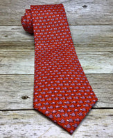 Pink Turtle Pattern on Coral Necktie - Knotted Handcrafted Bowties