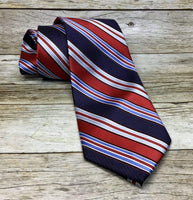 Red and Multi Blue Striped Woven Necktie - Knotted Handcrafted Bowties