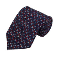 Red/White Anchor Pattern On Navy Necktie - Knotted Handcrafted Bowties