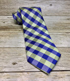 Royal Blue and Pear Green Basket Plaid Woven Necktie - Knotted Handcrafted Bowties