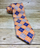 Silver, Blue-Grey And Peach Checkered Woven Necktie - Knotted Handcrafted Bowties
