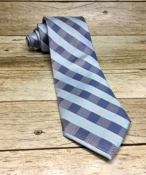 Sky Blue, Grey And Blue-Grey Checkered Woven Necktie - Knotted Handcrafted Bowties