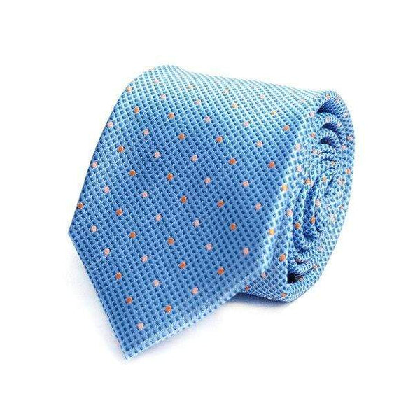 Sky Blue Polka Dot Necktie - Knotted Handcrafted Bowties