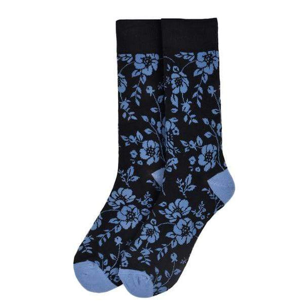 Navy Floral Socks - Knotted Handcrafted Bowties