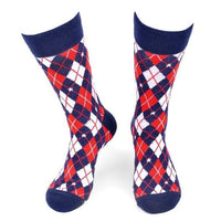 Red, White, And Blue Argyle Socks - Knotted Handcrafted Bowties