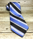 Steel Blue and Black Multi Striped Woven Necktie - Knotted Handcrafted Bowties