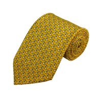White Dog Pattern On Yellow Necktie - Knotted Handcrafted Bowties