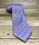 White and Lavender Paisley Woven Necktie - Knotted Handcrafted Bowties