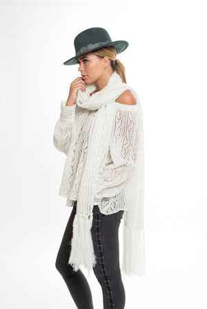 009 LA Soho Lurex Knitted Scarf - White/Silver