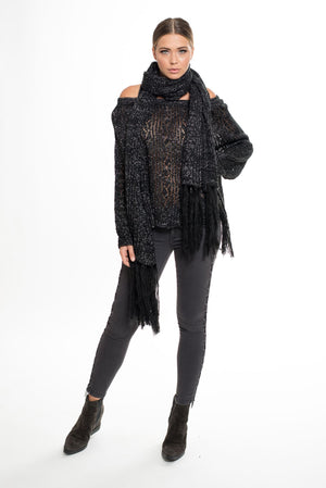 009 LN Soho Lurex Knitted Scarf - Black/Silver