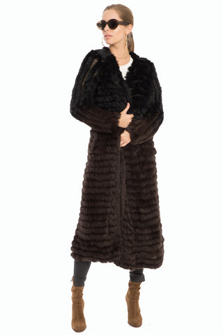 Sabrina Long Fur Cardigan- Black to Brown