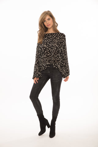 Ferill Floral & Gold Lurex Top in Black